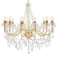 vidaXL Lustre com contas lâmpadas 12 x E14 dourado