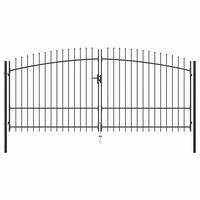 vidaXL Portão de cerca com porta dupla e topo em lanças 400x225 cm