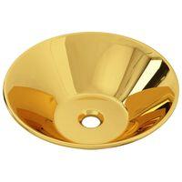 vidaXL Lavatório 42x14 cm cerâmica dourado