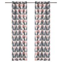 vidaXL Cortinas c/ argolas metal 2 pcs algodão 140x245cm cinzento/rosa