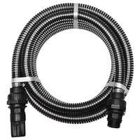 vidaXL Mangueira de sucção com conectores 7 m 22 mm preto