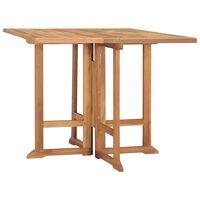 vidaXL Mesa de jantar para jardim dobrável 90x90x75 cm teca maciça