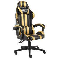 vidaXL Cadeira estilo corrida couro artificial preto e dourado
