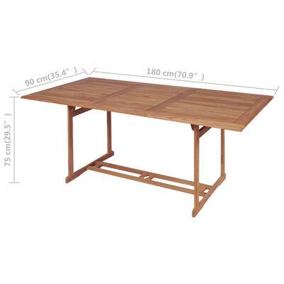 vidaXL Mesa de jardim 180x90x75 cm madeira teca maciça