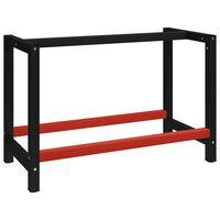 vidaXL Estrutura banco de trabalho 120x57x79 cm metal preto e vermelho