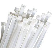 Braçadeiras De Cabos Reutilizáveis 100 Unidades Brancas (9,6x350 Mm)