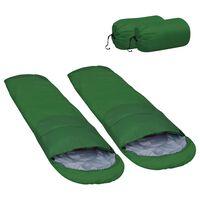 vidaXL Sacos-cama leves 2 pcs 15 ℃ 850 g verde