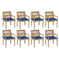 vidaXL Cadeiras Batávia com almofadões 8 pcs madeira de teca maciça