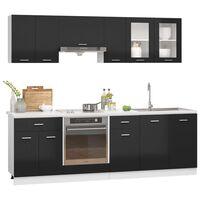 vidaXL 8 pcs conj. armários de cozinha contraplacado preto brilhante