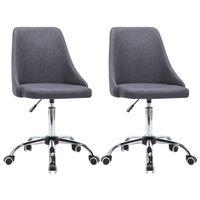 vidaXL Cadeiras de escritório com rodas 2 pcs tecido cinzento escuro