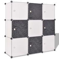 vidaXL Cubos de arrumação com 9 compartimentos preto e branco