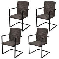 vidaXL Cadeiras de jantar cantilever 4 pcs couro artificial castanho
