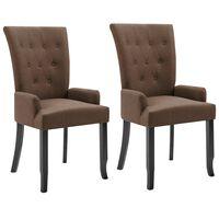 vidaXL Cadeiras de jantar com apoio de braços 2 pcs tecido castanho