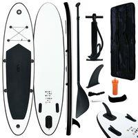 vidaXL Conjunto prancha de paddle SUP insuflável preto e branco