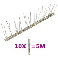 vidaXL Conjunto 10 picos pássaros e pombos 5 filas 5 m aço inoxidável