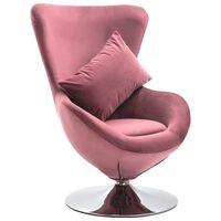 vidaXL Cadeira giratória em forma de ovo c/ almofadão veludo rosa