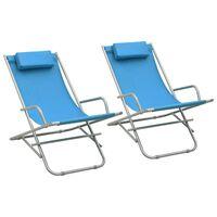 vidaXL Cadeiras de jardim reclináveis 2 pcs aço azul