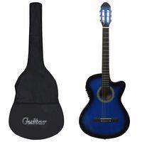 vidaXL 12 pcs conjunto de guitarra com equalizador e 6 cordas azul