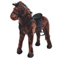 vidaXL Cavalo de montar em peluche castanho escuro XXL