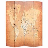 vidaXL Biombo dobrável mapa mundo 160x170 cm amarelo
