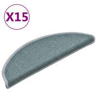 vidaXL Tapete/carpete para degraus 15 pcs 56x17x3 cm azul
