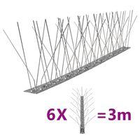 vidaXL Conjunto 6 picos pássaros e pombos 5 filas 3 m aço inoxidável