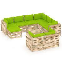 vidaXL 10 pcs conj. lounge jardim c/ almofadões madeira impreg. verde