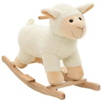 vidaXL Animal de baloiçar ovelha em pelúcia 78x34x58 cm branco