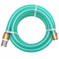 vidaXL Mangueira de sucção com conectores de latão 3 m 25 mm verde