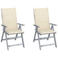 vidaXL Cadeiras jardim reclináveis c/ almofadões 2 pcs acácia maciça