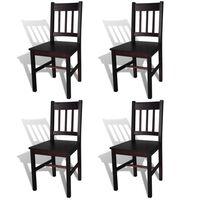 vidaXL Cadeiras de jantar 4 pcs madeira de pinho castanho-escuro