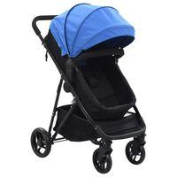 vidaXL Carrinho de bebé/berço 2 em 1 aço azul e preto