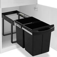 vidaXL Balde do lixo de encastre no armário cozinha fecho suave 48 L