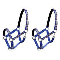 vidaXL Cabrestos 2 pcs para cavalo tamanho pónei nylon azul