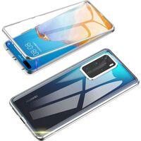 Capa Móvel Dupla-face Com Vidro Temperado - Huawei P40 - Prata