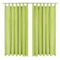 vidaXL Cortinas de cetim com presilhas 2 pcs 140x225 cm verde