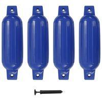 vidaXL Defensas de barco 4 pcs 41x11,5 cm PVC azul