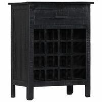 vidaXL Garrafeira 56x35x75 cm madeira de mangueira maciça preto