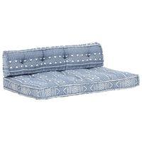vidaXL Almofadão para sofá de paletes tecido retalhos azul índigo