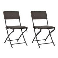 vidaXL Cadeiras de jardim dobráveis 2 pcs PEAD e aço castanho