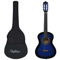 """vidaXL Guitarra clássica iniciantes/crianças com saco 1/2 34"""" azul"""