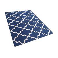 Tapete azul escuro de pelos curtos - Feito à mão - Algodão e lã - 160x