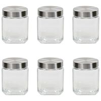 vidaXL Frascos de vidro com tampa prateada 6 pcs 1200 ml