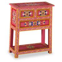 vidaXL Aparador c/ gavetas madeira mangueira rosa pintado à mão
