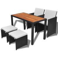 vidaXL 5 pcs conjunto jantar p/ exterior vime e madeira acácia preto