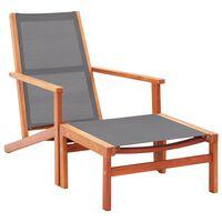 vidaXL Cadeira de jardim c/ apoio pés eucalipto maciço/textilene cinza