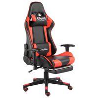 vidaXL Cadeira de gaming giratória com apoio de pés PVC vermelho