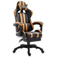 vidaXL Cadeira de gaming c/ apoio pés couro artificial laranja