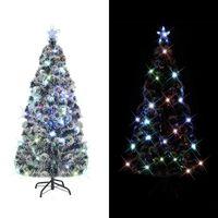 vidaXL Árvore de Natal artificial com suporte/LED 150 cm fibra ótica