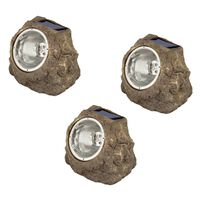 Luxform Iluminação pedra para jardim solar LED Andes 3 pcs